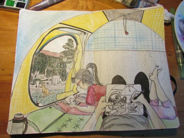 Dibujando en la carpa (Halls Gap, Australia)
