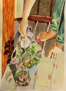 Pintura 1 regando